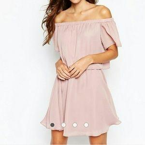 ASOS pink off shoulder dress